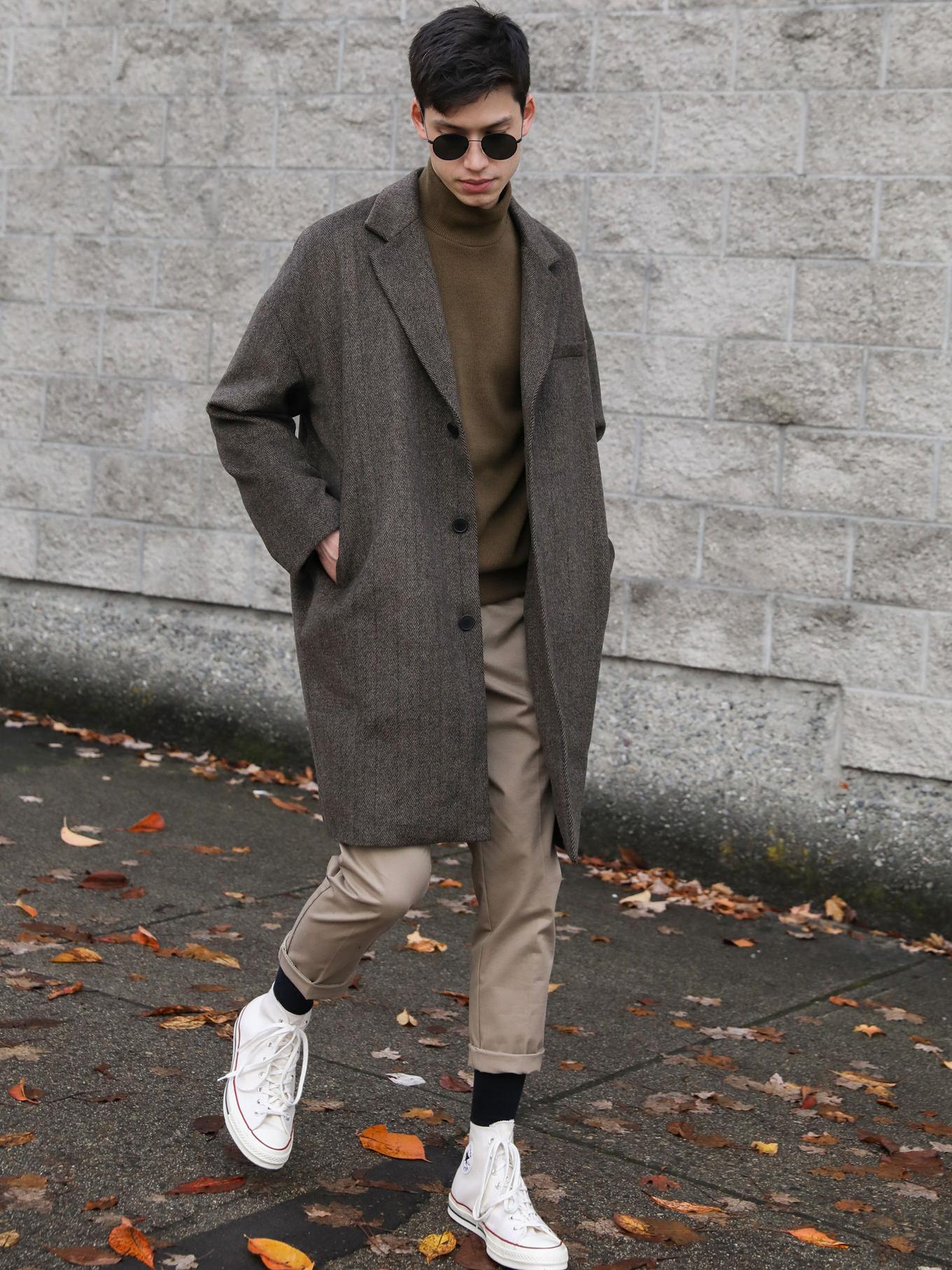 Mens casual print coat basic clothing